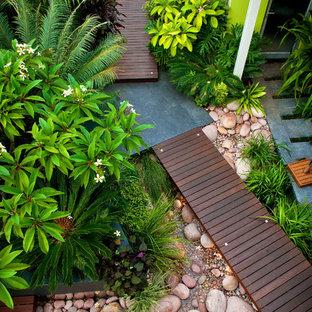 パースの小さいコンテンポラリースタイルのおしゃれな庭 (デッキ材舗装) の写真