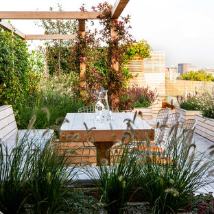This is an example of a large modern full sun rooftop landscaping in London.