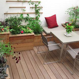 Esempio di un piccolo giardino minimal esposto a mezz'ombra in cortile in estate con un giardino in vaso e pedane