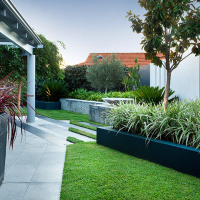 This is an example of a mid-sized contemporary backyard retaining wall landscape in Perth.