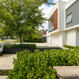 Photo of a large contemporary front yard full sun driveway for summer in Perth with a garden path and natural stone pavers.