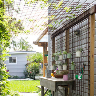 Transitional side yard garden in Sydney with a vertical garden.