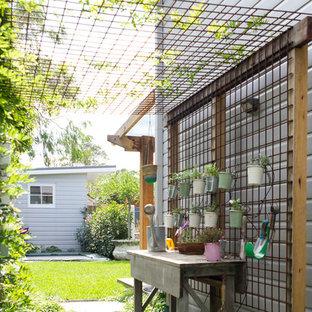 Modelo de jardín tradicional renovado, en patio lateral, con jardín vertical