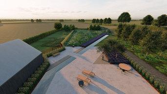 One acre garden for an ultramodern new build house in rural Suffolk