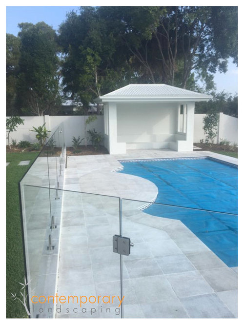 Contemporary landscaping pool surrounds for Garden pool surrounds