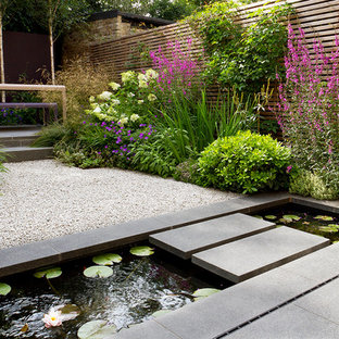 This Is An Example Of A Small Modern Back Garden In London With Water Feature