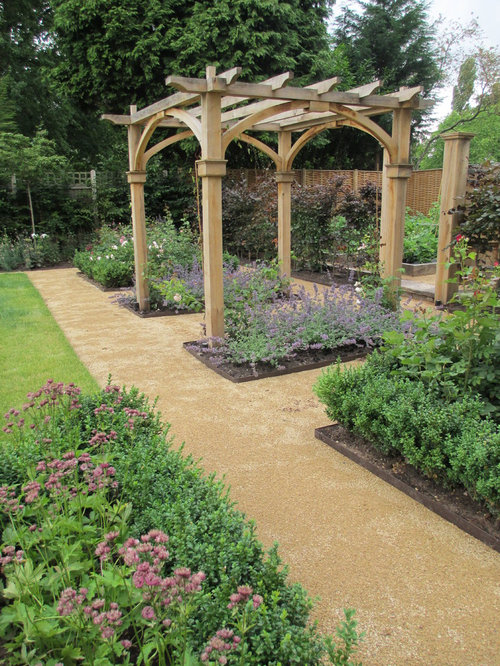 Victorian Full Sun Garden In Cheshire With Gravel.