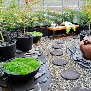 Exempel på en liten asiatisk trädgård i skuggan, med utekrukor och grus