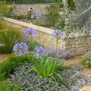 This is an example of a mediterranean garden in Other with a water feature.