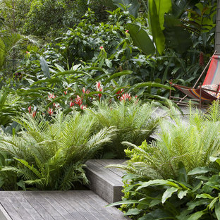 This is an example of a tropical backyard garden in Sydney with decking.