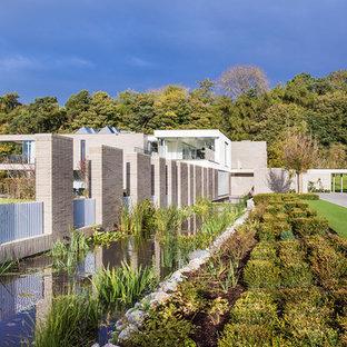 Photo of a contemporary back full sun garden in London with a pond.