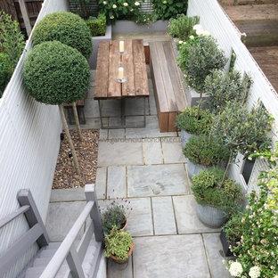 Idee per un piccolo giardino moderno in ombra dietro casa in estate con un giardino in vaso e pavimentazioni in pietra naturale