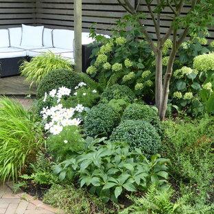 Inspiration för en liten funkis bakgård i delvis sol på sommaren, med en trädgårdsgång och marksten i tegel