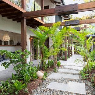 Bild på en tropisk trädgård framför huset, med en trädgårdsgång