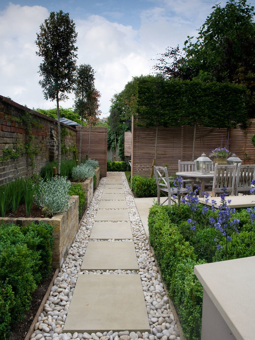 design ideas for a small traditional shade backyard stone landscaping in london - Small Yard Design Ideas