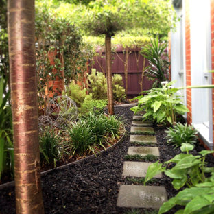 This Is An Example Of A Small Tropical Shade Front Yard Concrete Paver Garden Path In