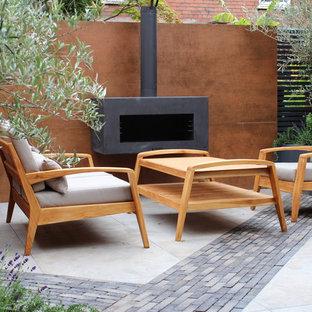 Cette image montre un petit jardin design l'été avec une cheminée et une exposition ensoleillée.