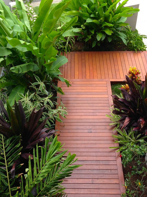 Photo Of A Small Tropical Front Yard Landscaping In Brisbane With Decking.