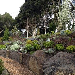 Cette image montre un jardin design avec une pente, une colline ou un talus et du gravier.