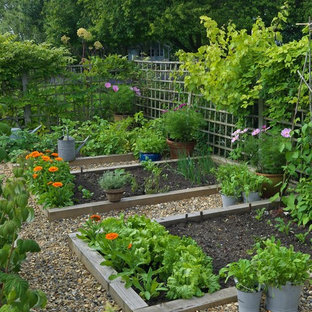 This is an example of a rural back full sun garden in London with a vegetable patch and gravel.