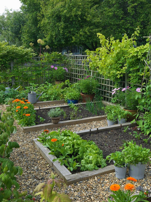 inspiration for a farmhouse full sun backyard gravel vegetable garden landscape in london - Garden Ideas Vegetable