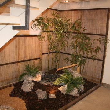 Zen garden under stairs