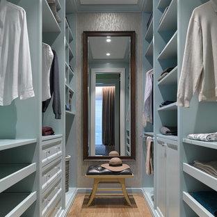 Exempel på ett litet klassiskt walk-in-closet för könsneutrala, med blå skåp, mellanmörkt trägolv, luckor med infälld panel och brunt golv