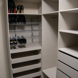 Ejemplo de armario y vestidor unisex, de tamaño medio, con armarios con paneles lisos, puertas de armario beige, suelo laminado y suelo gris