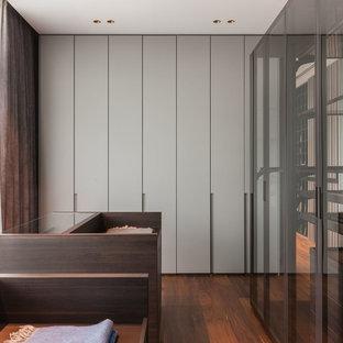 Пример оригинального дизайна: парадная гардеробная унисекс в современном стиле с плоскими фасадами, серыми фасадами, паркетным полом среднего тона и коричневым полом