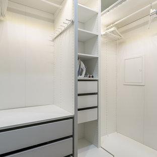 Imagen de armario vestidor unisex, nórdico, con armarios con paneles lisos, puertas de armario grises, suelo marrón y suelo de madera en tonos medios