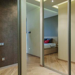Modelo de armario unisex, contemporáneo, pequeño, con armarios tipo vitrina, puertas de armario grises, suelo de madera en tonos medios y suelo amarillo