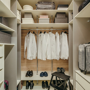 Свежая идея для дизайна: гардеробная комната в современном стиле с плоскими фасадами и белыми фасадами для женщин или мужчин - отличное фото интерьера