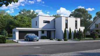 Architekturvisualisierung eines Hauses mit wunderschönem Garten