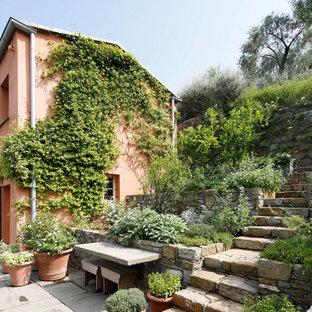 Esempio di un giardino country nel cortile laterale con un giardino in vaso