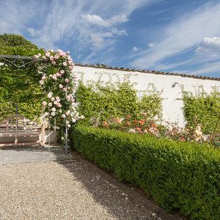 Idéer för en stor klassisk formell trädgård i full sol längs med huset på sommaren, med en vertikal trädgård och grus