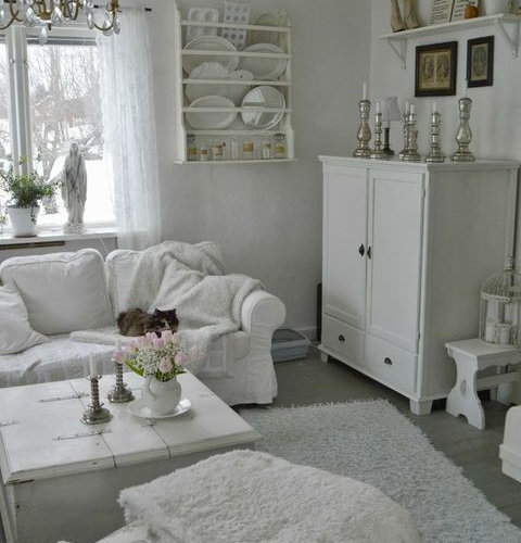 Shabby chic style grey living room design ideas for Grey shabby chic living room ideas