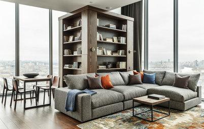 Houzz тур: Квартира с кубом-библиотекой на 26 этаже в Сити