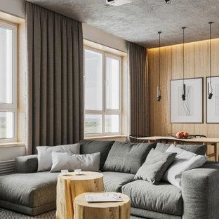 Modelo de salón abierto y madera, actual, de tamaño medio, madera, con paredes blancas y madera