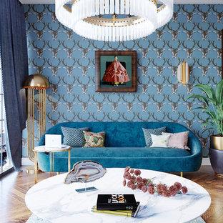 Esempio di un soggiorno classico con sala formale, pareti multicolore e pavimento in legno massello medio