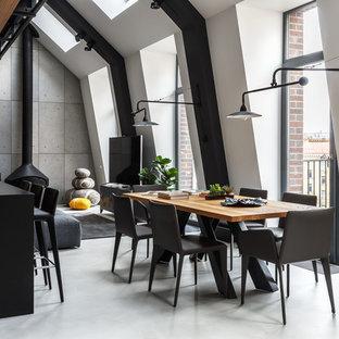 モスクワの中サイズのコンテンポラリースタイルのおしゃれなLDK (白い壁、コンクリートの床、吊り下げ式暖炉、金属の暖炉まわり、グレーの床、据え置き型テレビ) の写真