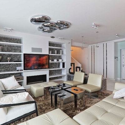 Example of a large trendy formal and open concept medium tone wood floor living room design in Moscow with white walls, a ribbon fireplace, a plaster fireplace and a wall-mounted tv