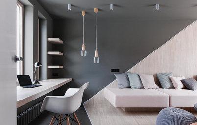 幾何学デザインで空間を分けて。視覚効果を利用した柔らかな色の家