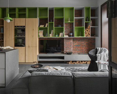 Small Industrial Living Room : Design ideas for a small industrial formal open concept living room in ...