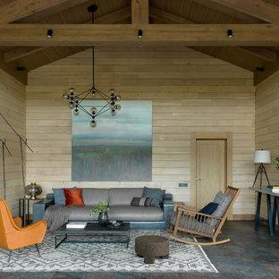 Свежая идея для дизайна: гостиная комната в стиле кантри с бежевыми стенами - отличное фото интерьера