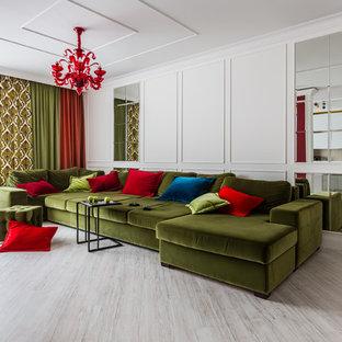 Неиссякаемый источник вдохновения для домашнего уюта: гостиная комната в современном стиле с белыми стенами и бежевым полом