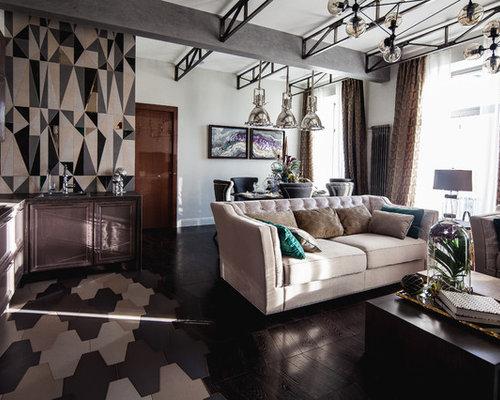 salon avec un bar de salon et un mur multicolore photos et id es d co de salons. Black Bedroom Furniture Sets. Home Design Ideas