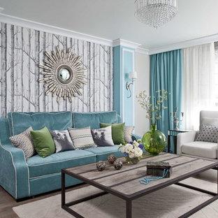 Стильный дизайн: парадная гостиная комната в стиле современная классика с паркетным полом среднего тона - последний тренд