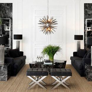 Стильный дизайн: большая парадная, изолированная гостиная комната в современном стиле с белыми стенами без камина, ТВ - последний тренд