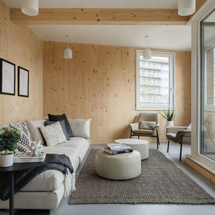 Inspiration for a small scandinavian enclosed living room in London with brown walls, lino flooring and grey floors.