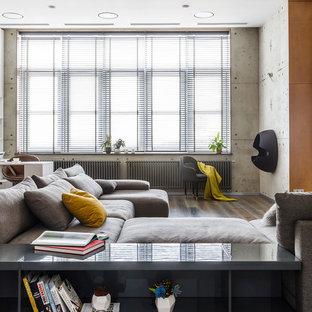 Источник вдохновения для домашнего уюта: гостиная комната в современном стиле с серыми стенами, паркетным полом среднего тона и коричневым полом